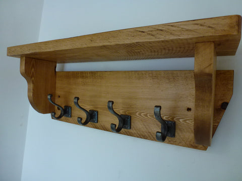 Coat / Hat Rack with 4 Square Base Antique Hooks And Shelf