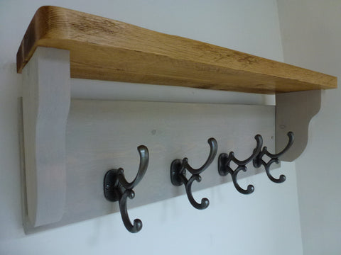 Rustic Hat / Coat Rack Complete With Shelf and 4 Antique Cast Iron Hooks