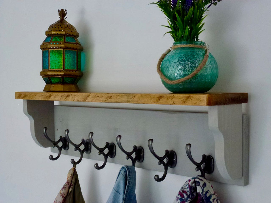 Rustic Hat / Coat Rack Complete With Shelf and 6 Antique Cast Iron Hooks