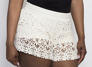 Lace Cream Shorts