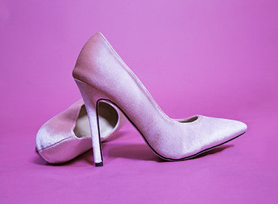 Blush suede pumps