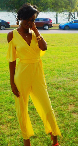 Canary Cold Shoulder Jumpsuit