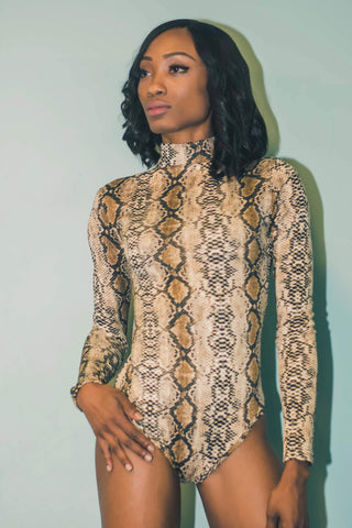 Snakeskin Long sleeve Bodysuit