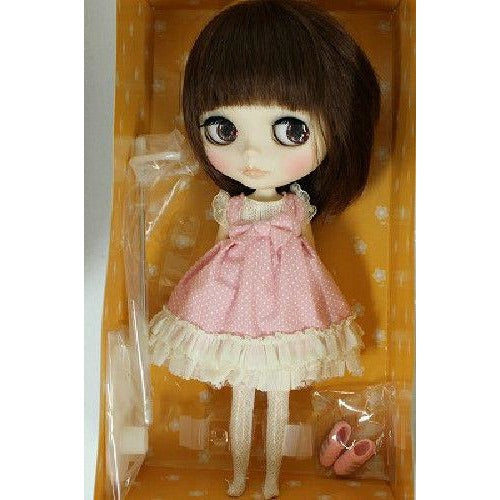 Blythe ooak custom doll Dark Brown Bob hair Pink dress Japan One of a kind