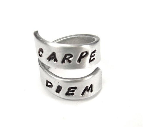 Stamp Carpe Diem - Seize the Day- Quote Ring- Affirmation Ring