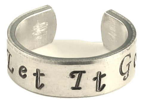 Frozen Inspired - Let It Go - A Hand Stamped Aluminum Ring