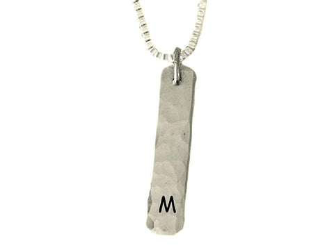 Single Initial Name Pendant Necklace with Box Chain | Textured and Brushed Finish