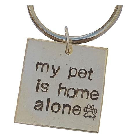 My Pet is Home Alone Key Chain with Paw Print