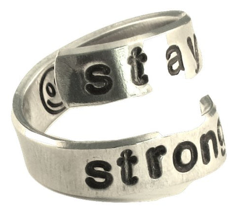 Stay Strong with Smile Face Inspiration Hand Stamped Aluminum Ring Personalized Customized