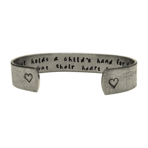 A Mother Holds her Child's Hand for a Short While, but Their Heart Forever- Hand Stamped Aluminum Bracelet, Graduation Gift, Wedding Gift