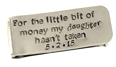 Father of the Bride Gift - Personalized Money Clip - Aluminum Money Clip - Father Daughter - For the Little Bit of Money
