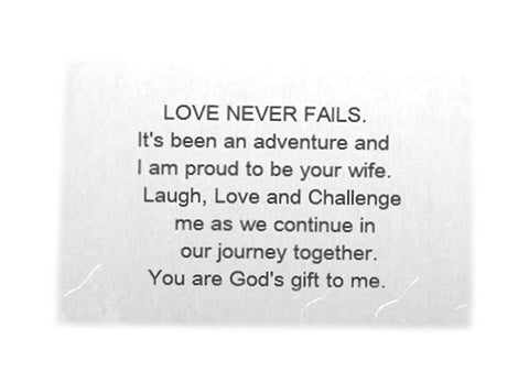 Aluminum Wallet Insert Keepsake Card - Love Never Fails. - Create Your Own Message - Gift for Him - Gifts Under 50