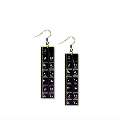 "Table of Elements in Black Earrings Design - 1/2"" x 2"" Layered and Long Brass Rectangle"