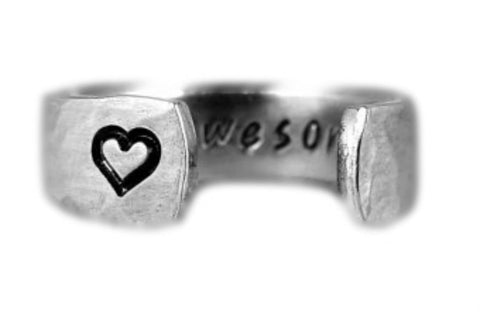 Stay Awesome Ring - Secret Message Ring - Affirmations - Aluminum Hand Stampe...