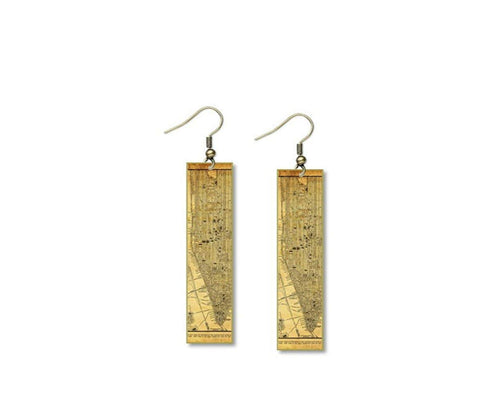 "Vintage New York City NY Street Map Earrings Design - 1/2"" x 2"" Layered and Long Brass Rectangle"