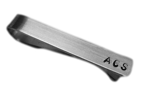 Hand Stamped Personalized Initials Tie Clip - Custom Tie Bar - Birthday Gift - Groomsmen Gift