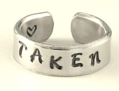 """Taken"" Hand Stamped Aluminum Ring Personalized Customized"