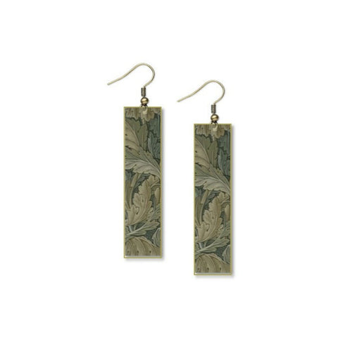 "Plant Garden Flower Earrings William Morris Thistle Design - 1/2"" x 2"""