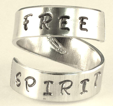 FREE SPIRIT - feather - Adjustable Twist Wrap Aluminum Ring - Handed Stamped