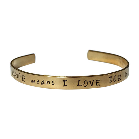"Rawr Means I Love You in Dinosaur Hand Stamped 1/4"" Brass Cuff Bracelet"
