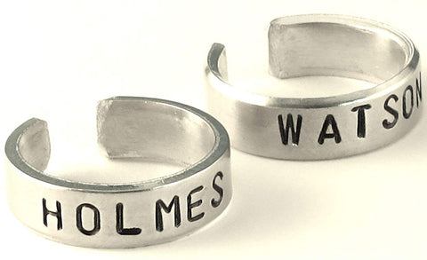 Sherlock Holmes Inspired - Holmes and Watson - Set of Hand Stamped Aluminum Rings