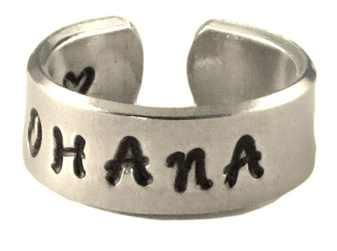 Personalized Ring - Ohana - Means Family in Hawaiian - Adjustable Hand Stamped Twist Hammered Aluminum