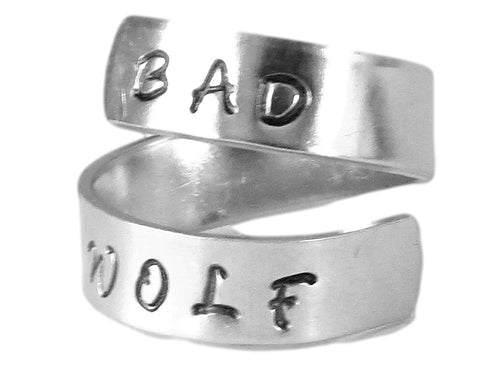 Bad Wolf - Dr. Who Quote Ring- Whovian Jewelry- Hand Stamped Ring