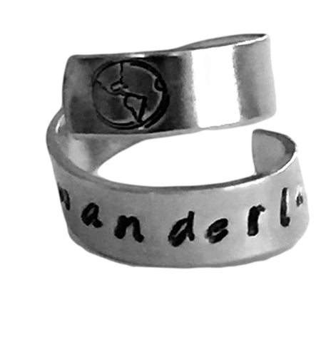 Wanderlust Earth Inside Hand Stamped Personalized Aluminum Spiral Ring Jewelry