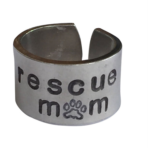 "1/2"" Wide Adjustable Single Ring - Personalized Hand Stamped Ring Pet Parent Rescue Mom Gift Pet Parent Gift For Him Her Unisex Ring Jewelry Adopt Pet"