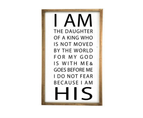 "Hand Trades I am The Daughter of a King who is not Moved by The World Farmhouse Style Distressed Wood Bedroom Couples Wall Decor Framed Sign 36"" x 24"""