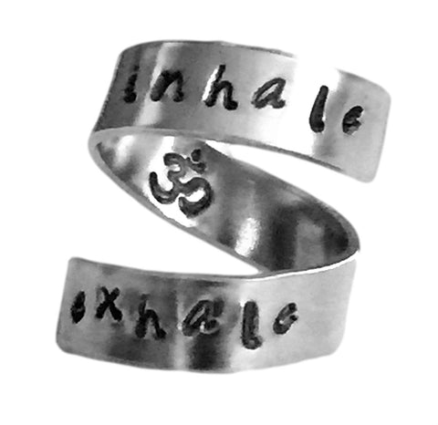 Inhale Exhale Ring Om Symbol Inside Hand Stamped Aluminum Spiral Ring