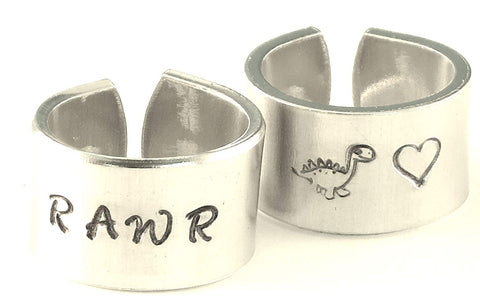 RAWR - dinosaur, heart - Adjustable Twist Wrap Aluminum Ring SET - Handed Stamped Best Friends, BFF