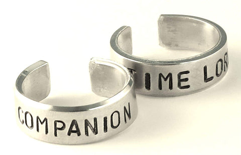 Time Lord Companion Ring Set - Dr Who Fan Rings - Whovian Cosplay Jewelry- Couples Rings