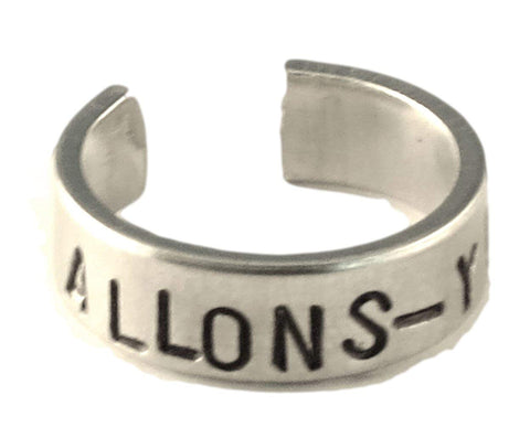 Allons-y! Aluminum Doctor Who Ring Adjustable Sizes