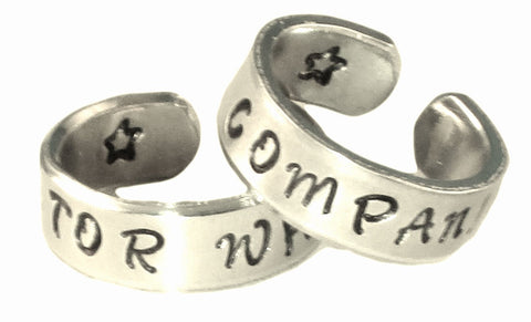 Doctor Who and Company Inspired Ring Set - Best Friends - Couples Ring Set Personalized Customized