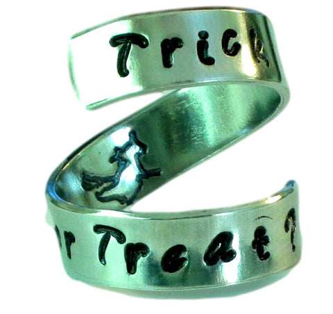 Halloween Trick or Treat Flying Witch Ring - Adjustable - Aluminium Wrap Ring - Hand Stamped