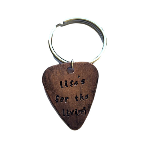Hand Trades Life's for The Living - Distressed - Key Chain Personalized Keychain, Couples Gift, Guitar Picks Key Chain Personalized