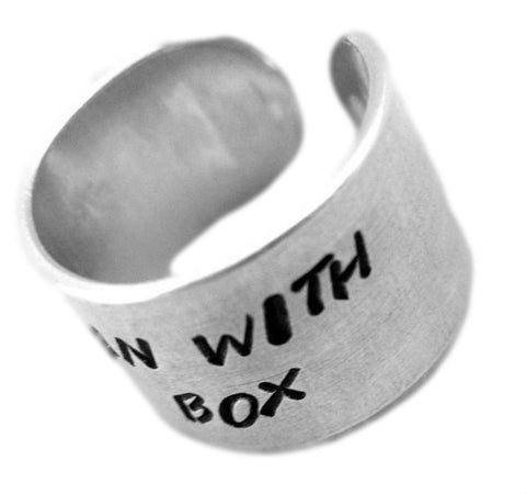 Madman with a Box - Doctor Who Jewelry, Hand Stamped Adjustable 1/2-inch Wide Aluminum Ring