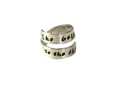 She Believed She Could, so She Did Spiral Twist Ring, Handstamped Aluminum Twist Wrap Ring, Graduation and Friend Gift