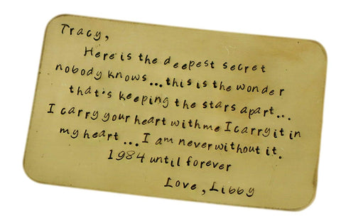 Copper Wallet Insert Keepsake Card - The Deepest Secret - Create Your Own Message - Gift For Him - Gifts Under 50