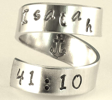 Isaiah 41:10 No Fear Ring Anchor Inside Spiral Hand Stamped Aluminum