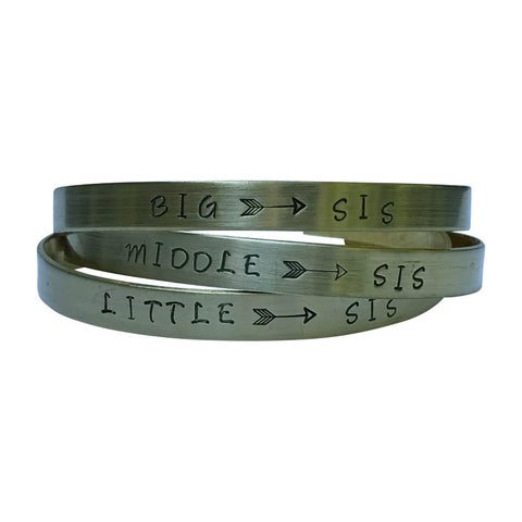Big Sis/Middle Sis/Little Sis - Hand Stamped Brass Cuff Bracelets Set Arrow 3 Sisters, Friendship, BFF,Sorority Sisters