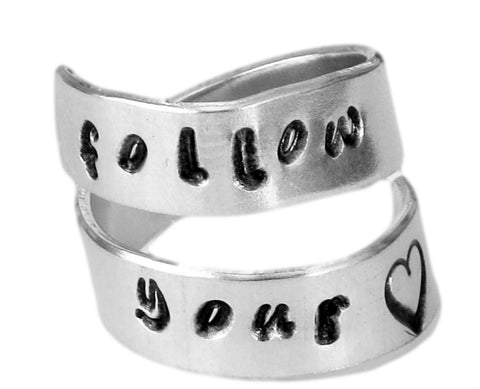 Follow Your Heart - Affirmation - Adjustable Aluminum Wrap Ring
