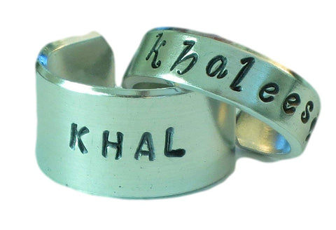 Khal and Khaleesi - Game of Thrones - Adjustable Aluminum Rings