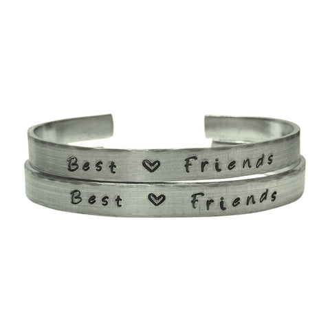 Best Friends Bracelet Set with a Heart - 1/4 inch Hand Stamped Aluminum Bracelet Set, BFF,BAE