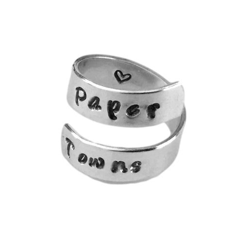Paper Towns Aluminum Ring Heart Hand Stamped Personalized Aluminum Spiral Ring Jewelry