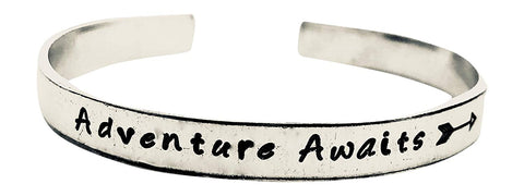 Adventure Awaits -Hand Stamped Aluminum Cuff Bracelet -Graduation-Motivational-Travel-Wanderlust-Arrow jewlery
