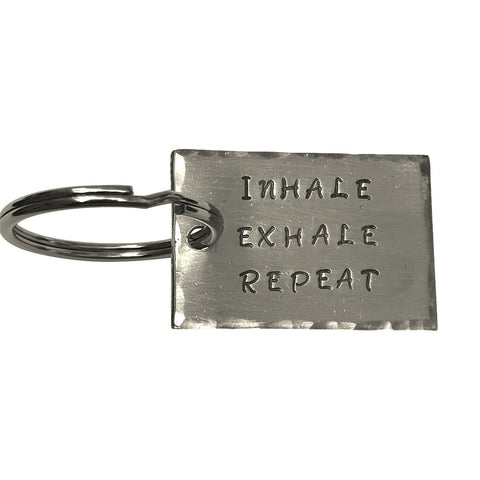 Inhale, Exhale, Repeat- Hand Stamped Aluminum Key Chain, Custom Made Key Chain