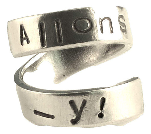 Allons-y!- Dr Who Inspired Whovia Jewelry Adjustable Aluminum Wrap Ring