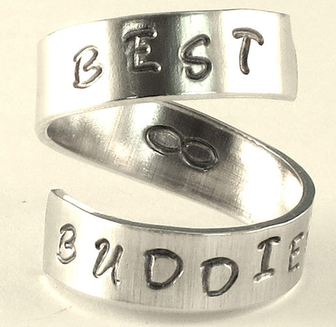 BEST BUDDIES - infinity - Adjustable Twist Wrap Aluminum Ring - Handed Stamped Friendship BFF